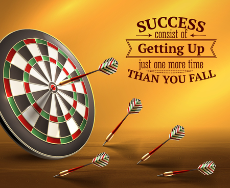 Success smart quotes with ups and downs symbols realistic vector illustration Illustration