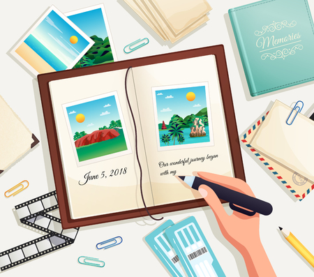 Photo album cartoon vector illustration with human hand holding pencil for writing explanation under photograph in scrapbook page