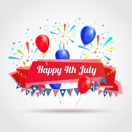 Happy 4th of july greeting postcard with festive flags fireworks and balloons symbols realistic vector illustration