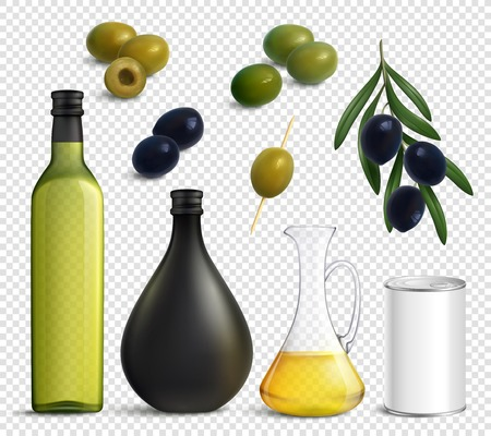Set of realistic olives and oil in jug, packaging for products isolated on transparent background vector illustration