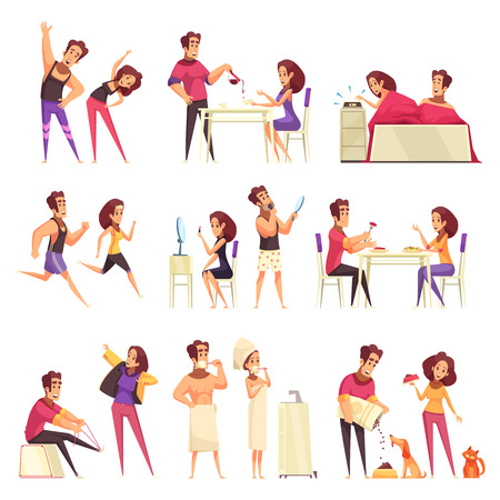 Cartoon set of icons with young couple and various morning routine isolated on white background vector illustration