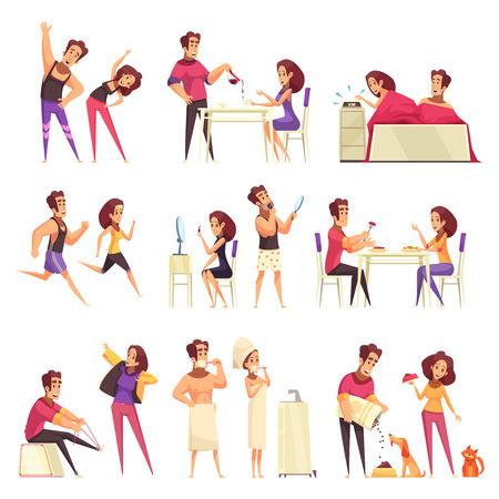 Conjunto de dibujos animados de iconos con pareja joven y varias rutinas matutinas aisladas sobre fondo blanco ilustración vectorial