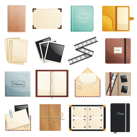Memories collection of photo album scrapbook notepad diaries postal envelope film slide folders isolated decorative elements vector illustration