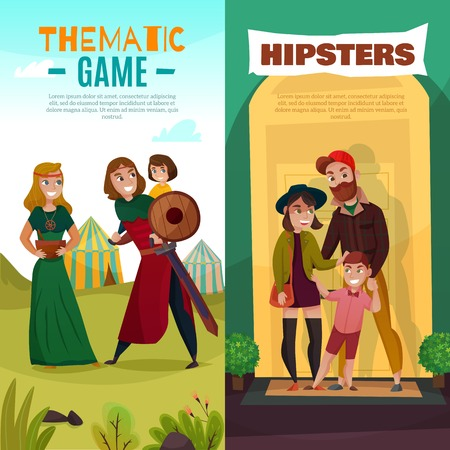 Subcultures cartoon banners, family of hipsters in trendy clothing and people during thematic game isolated vector illustration Illustration