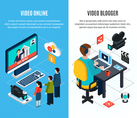 Photo video isometric vertical banners set with mass media and video blogging images with editable text vector illustration
