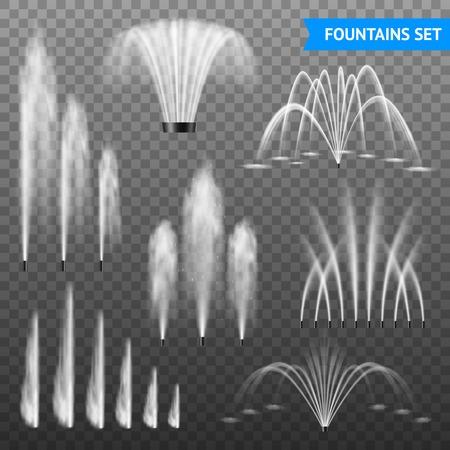 Set di getto d'acqua decorativo per fontane d'acqua di 7 varie dimensioni di forme su sfondo trasparente illustrazione vettoriale