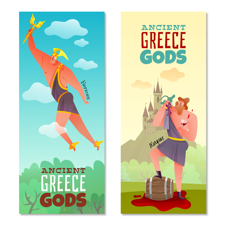 Ancient greece gods vertical banners flying dionysus with grape and glass wine isolated vector illustration