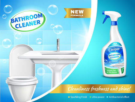 Bathroom cleaner realistic composition  with advertising of sparking fresh ultra power antibacterial effect vector illustration Illustration