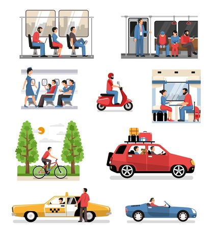 Transportation vehicles with passengers drivers cyclist flat compositions set with people in train bus aircraft car vector illustration
