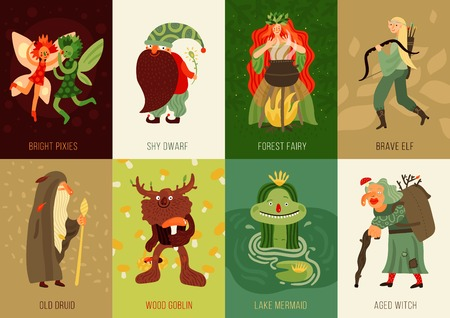 Forest fairy tale characters cards set flat isolated vector illustration