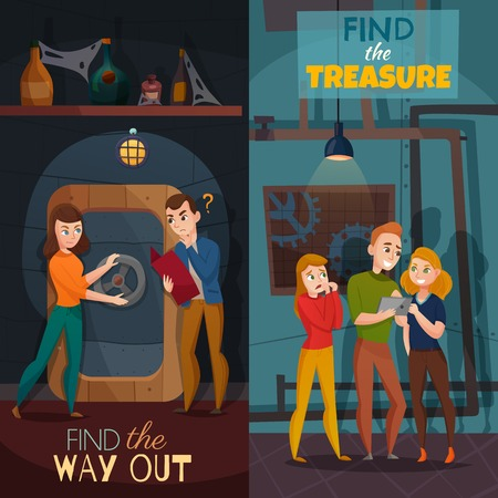 Quest game reality vertical cartoon banners with find way out and search of treasure isolated vector illustration Vectores