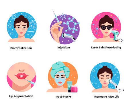 Cosmetology 6 flat round icons concept with laser skin resurfacing face lift lip augmentation isolated vector illustration Illustration