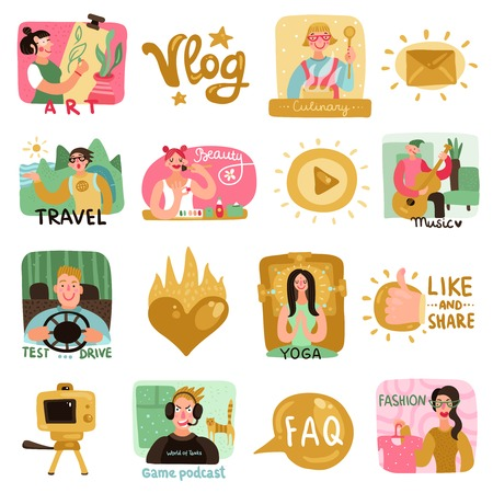 Video bloggers icons set with beauty culinary and travel symbols flat isolated vector illustration Illustration