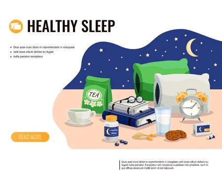 Healthy sleep cartoon vector illustration with glass of milk pack of soothing tea and sleeping pills at night sky background Illustration