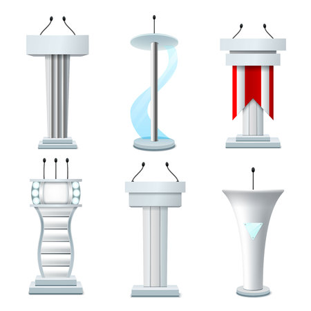 Set of realistic tribunes of white color with various design elements and microphones isolated vector illustration
