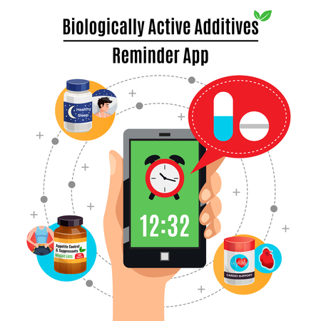 Time reminder smartphone app about biological active additives therapy design concept cartoon vector illustration