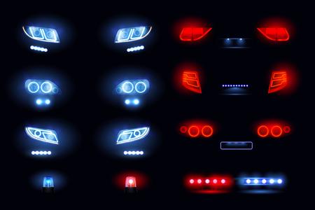 Kfz-LED-Leuchten realistisch eingestellt mit Scheinwerferstangen vorne hinten Autoansichten, die in der Dunkelheit Vektorillustration leuchten