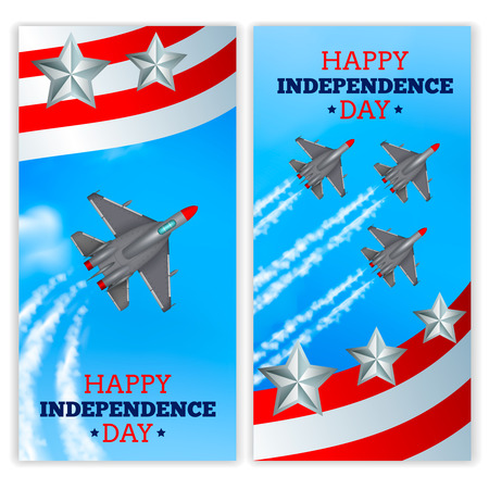 Independence day celebration military airshow 2 realistic vertical festive banners with flying airplanes isolated vector illustration