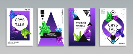 Kleurrijke kristallen 4 realistische decoratieve spandoeken met levendige heldergroene paars blauwe mineralen vectorillustratie als achtergrond