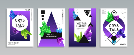Colorful crystals 4 realistic decorative banners set with vibrant bright green purple blue minerals background vector illustration