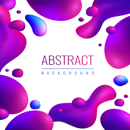 Fluid neon holographic abstract design composition with editable text and fluorescent gradient drops of different size vector illustration Ilustrace