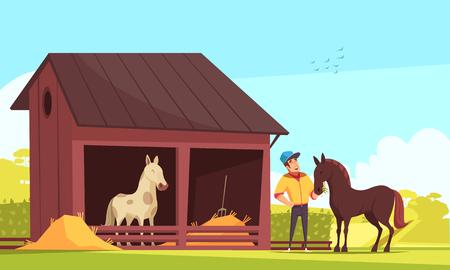Composition de sport équestre avec des images en plein air de l'écurie et du caractère humain nourrissant l'illustration vectorielle étalon