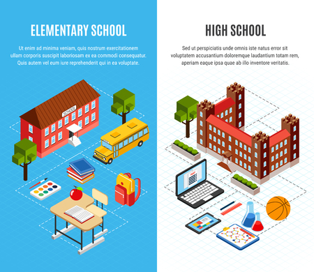 Education isometric vertical banners set with high and primary school buildings and objects for studying 3d isolated vector illustration Ilustração