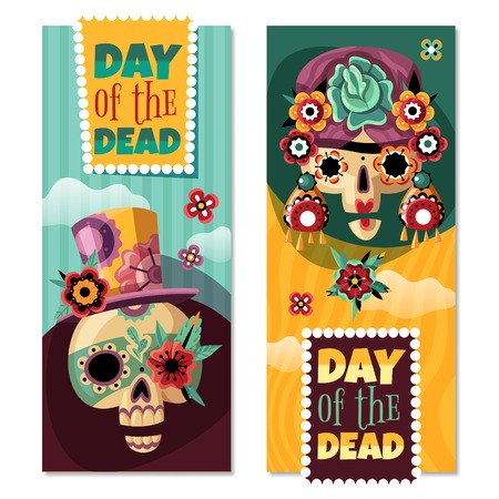 Dead day 2 colorful decorative vertical banners set with funny ornamented with flowers sculls isolated vector illustration Vectores