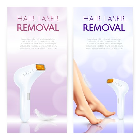 Hair removal vertical banners with laser epilator smooth woman legs and place for description text realistic vector illustration