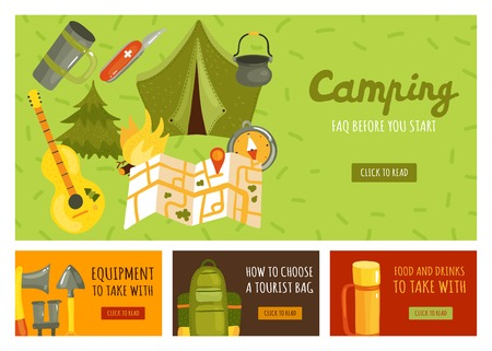 Flat set of four banners with necessary equipment for camping isolated vector illustration