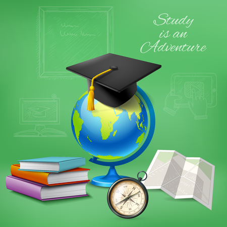 Education design concept with notebooks compass and master hat on globe realistic icons vector illustration