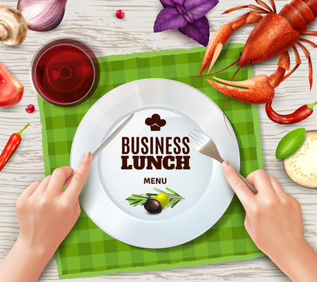 Using cutlery properly top view plate lobster saus and hands holding fork and knife realistic vector illustration Illustration