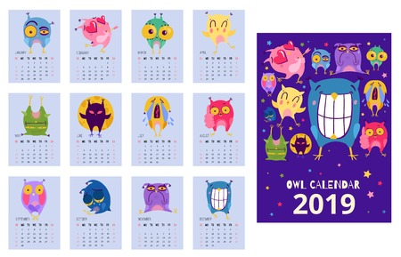 Flat design calendar template with funny owls expressing different emotions isolated vector illustration
