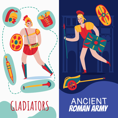 Ancient rome empire vertical banners set with hand written style text and flat cartoon human characters vector illustration 일러스트