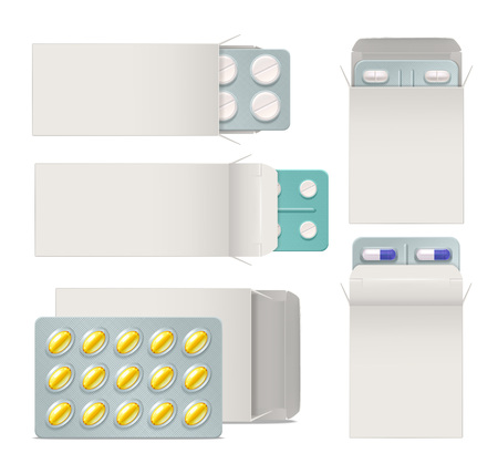 Realistic set of opened paper packaging with blisters of medicine pills and capsules isolated vector illustration