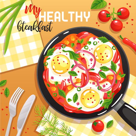 Healthy breakfast with eggs vegetables and greenery on frying pan at table top view flat vector illustration
