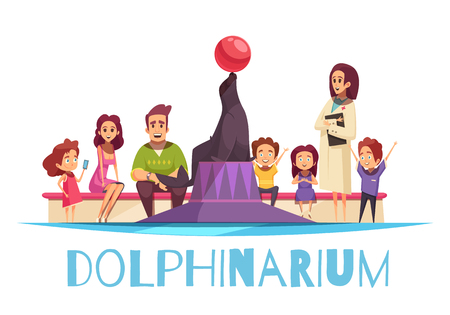 Dolphinarium flat background composition with text and cartoon style human characters of family members and interpreter vector illustration