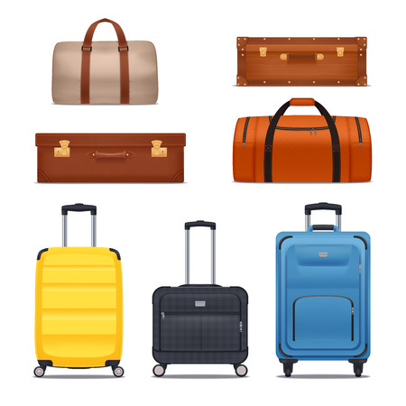 Baggage colored set of bags hand luggages suitcases isolated on white background realistic vector illustration Ilustração
