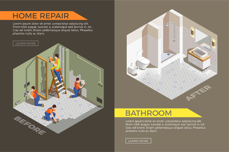 Bath room before and after construction works isometric composition with builders during repair vector illustration Vectores