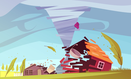 Natural disasters outdoor composition with living house on storm flat images of sky and environment vector illustration