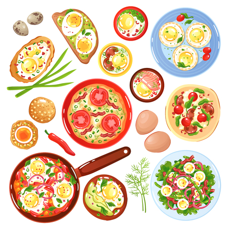 Set of icons dishes from quail and hen eggs with vegetables mushrooms and greenery isolated vector illustration