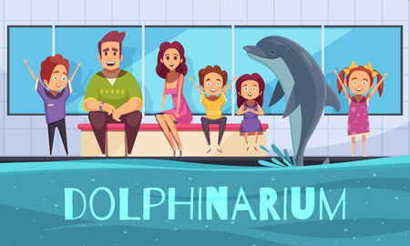 Dolphinarium background with view of dolphin jumping out of the pool and cartoon characters of people vector illustration