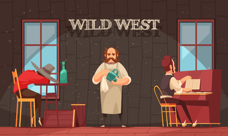 Cowboy composition with indoor view of wild west saloon room with human characters of bartender and pianist vector illustration
