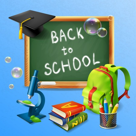 Back to school realistic background with blackboard school bag tutorials microscope vector illustration