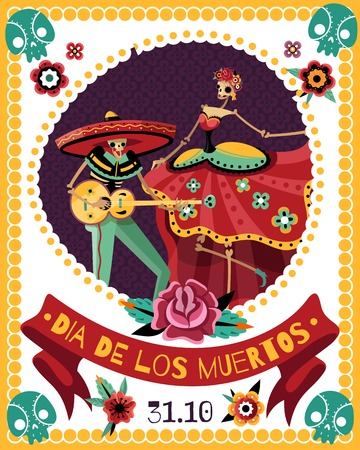 Dead day celebration party announcement poster with date and singing couple skeletons in colorful costumes vector illustration Illustration