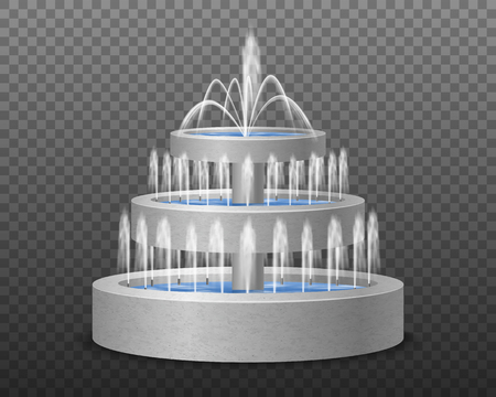 Three tiered garden outdoor modern style decorative water fountain realistic image against dark transparent background vector illustration