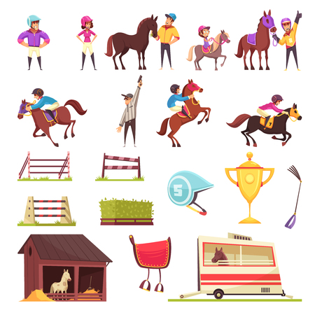 Equestrian sport set of isolated icons with flat images of horse race barriers awards and people vector illustration