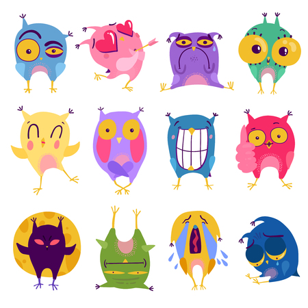 Funny colorful 12 emotion owl stickers set expressing love surprise anger sorrow laughing and crying vector illustration Ilustração