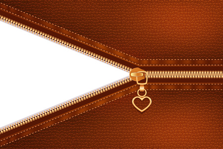Gold metallic zipper sewing to fabric of terracotta color with leather structure abstract background realistic vector illustration