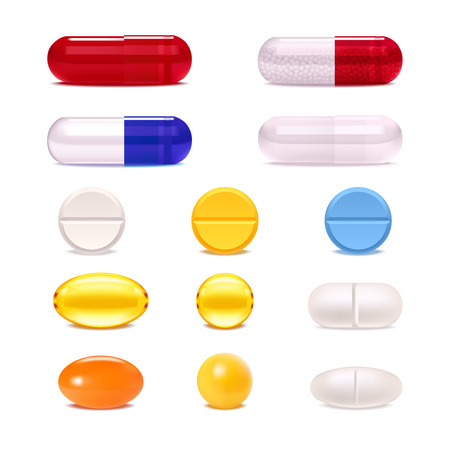 Kleurrijke geneeskundepillen en capsules realistische die reeks op witte vectorillustratie wordt geïsoleerd als achtergrond